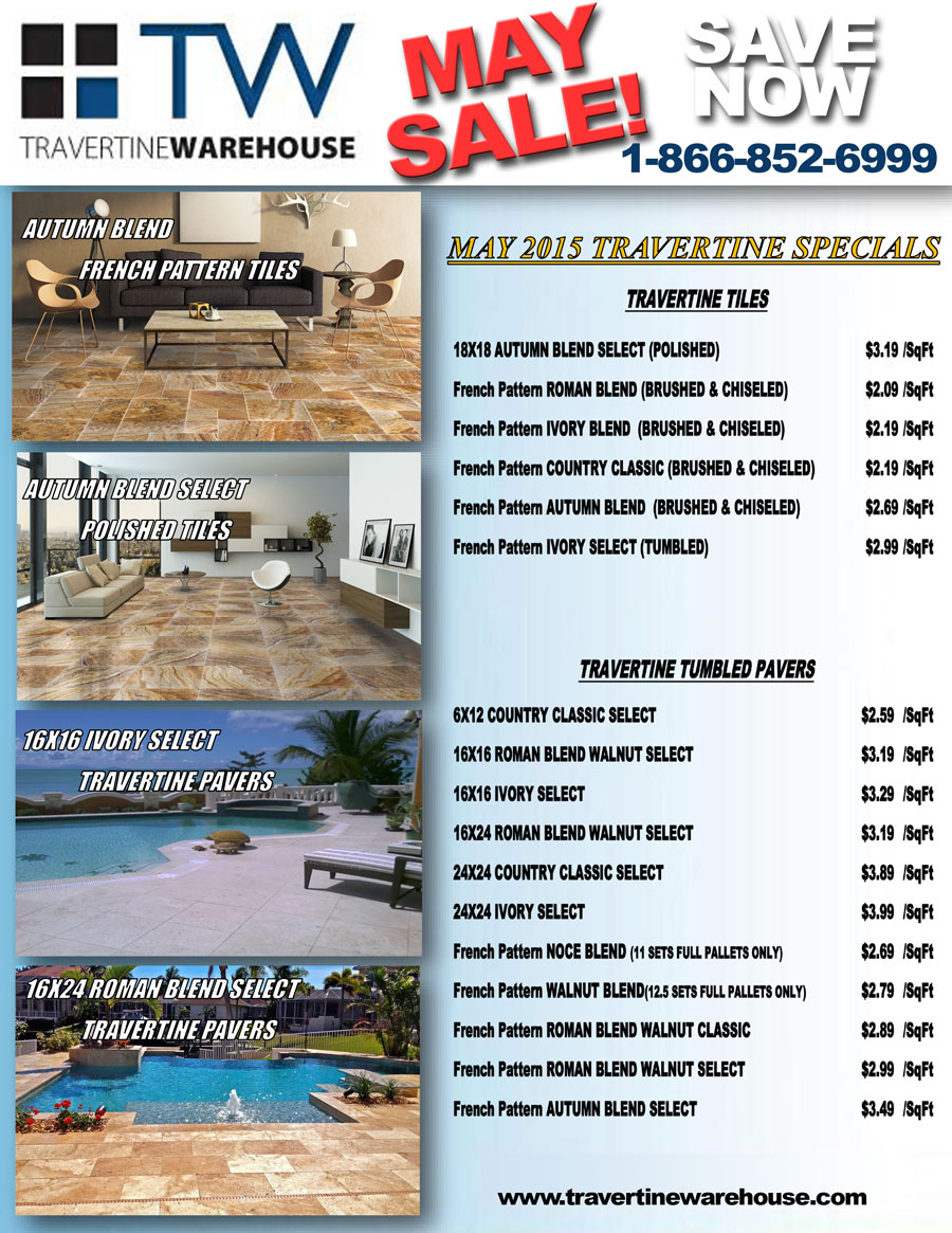 TW May Travertine sale